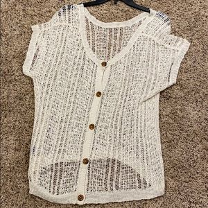 Cream button back crocheted knit sweater
